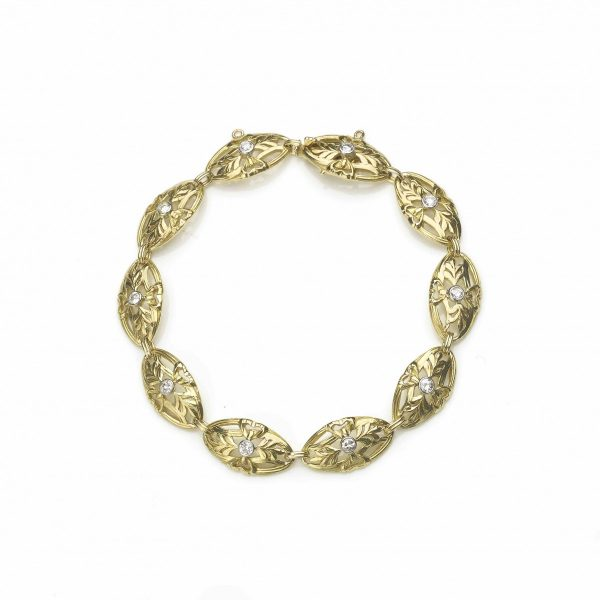 Antique Belle Epoque diamond set gold bracelet
