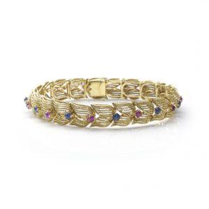Vintage Gem Set Fancy Link Bracelet