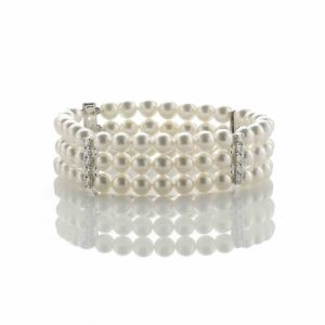 Diamond Set Three Row Pearl Bracelet