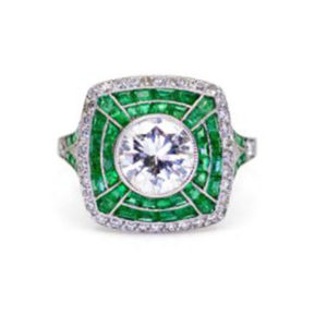 Art Deco style emerald and diamond target ring