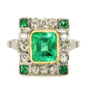 Art Deco ring Antique Art Deco Emerald and Diamond Ring jewellery