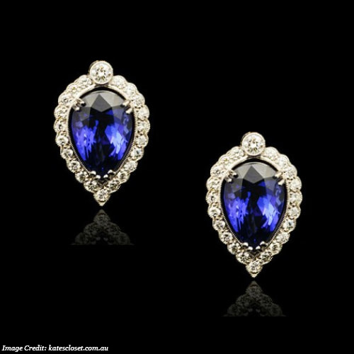G. Collins and Sons Tanzanite and Diamond Earrings
