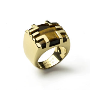 Cartier Tiger-eye cage ring gold 1970