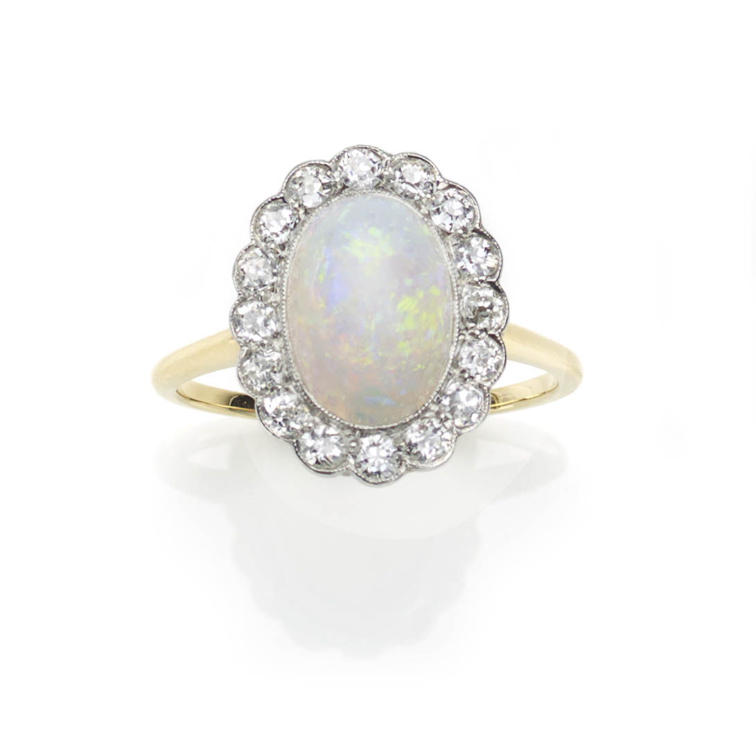 f42dbeeadcf1aa Jewellery Discovery - Antique Art Deco Opal & Diamond Cluster Ring