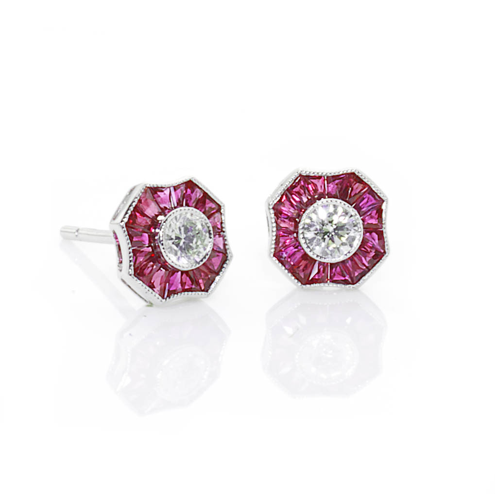 Art Deco Style Ruby And Diamond Earrings Jewellery Discovery