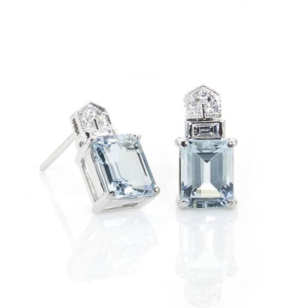 Diamond topped aquamarine earringsDiamond topped aquamarine earrings