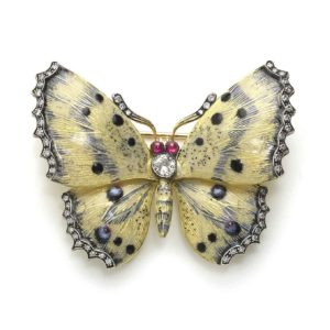 Cream & Blue Enamel Butterfly Brooch