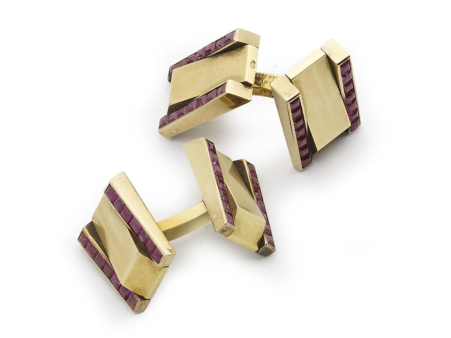 Van Cleef and Arpels ruby cufflinks 1940's gold retro