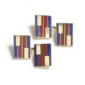 A pair of red and blue enamel cufflinks gold
