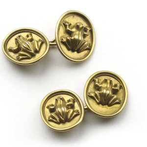antique frog gold cufflinks