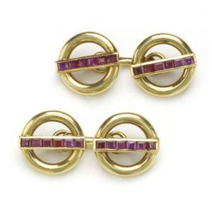 1950's cartier gold ruby cufflinks