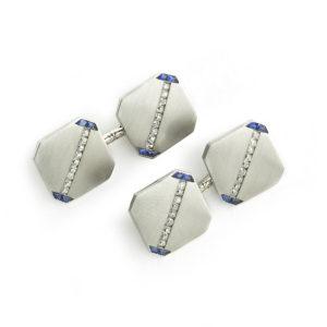 Platinum, Sapphire & Diamond Cufflinks J. E. Caldwell