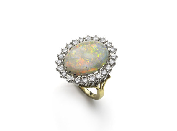 Opal and diamond cluster ring gold