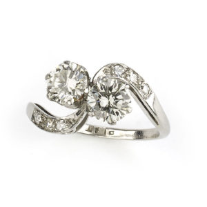two stone diamond crossover ring platinum round diamonds vintage c 1950