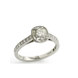 Cushion cut diamond engagement ring old cut platinum