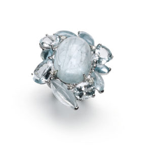 Aquamarine dress ring diamond