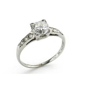 Art deco single stone diamond ring