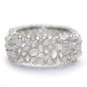 Cuff bangle gemset moonstone and diamond white gold large