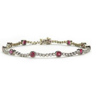 Ruby & Diamond Line Bracelet