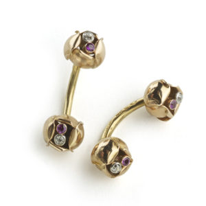 Tiffany & co gold flower cufflinks, 1940