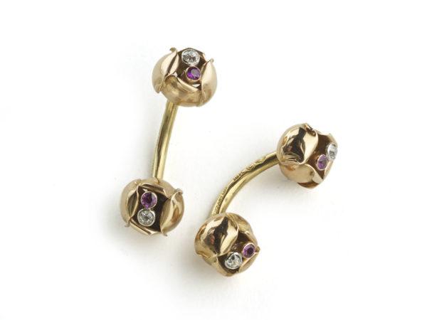 Tiffany & co gold flower cufflinks, 1940