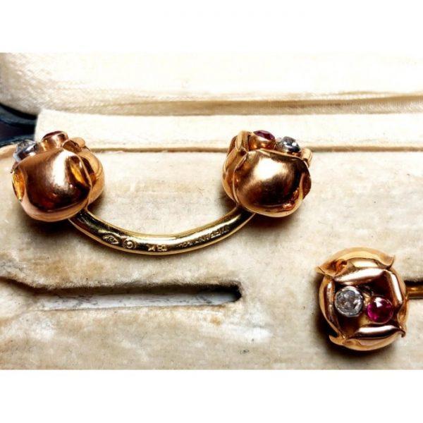 Vintage Tiffany & Co Gold Flower Cufflinks