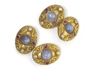 Antique star sapphire, ruby and diamond cufflinks victorian gold oval