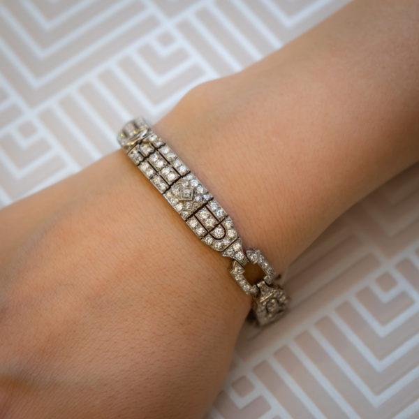 Art Deco diamond bracelet 1920;s Raymond yard maker Signed YARD Jewellery Discovery London