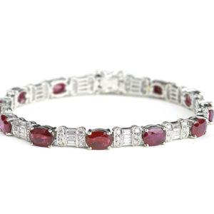 Ruby diamond line tennis bracelet 18 ct white gold