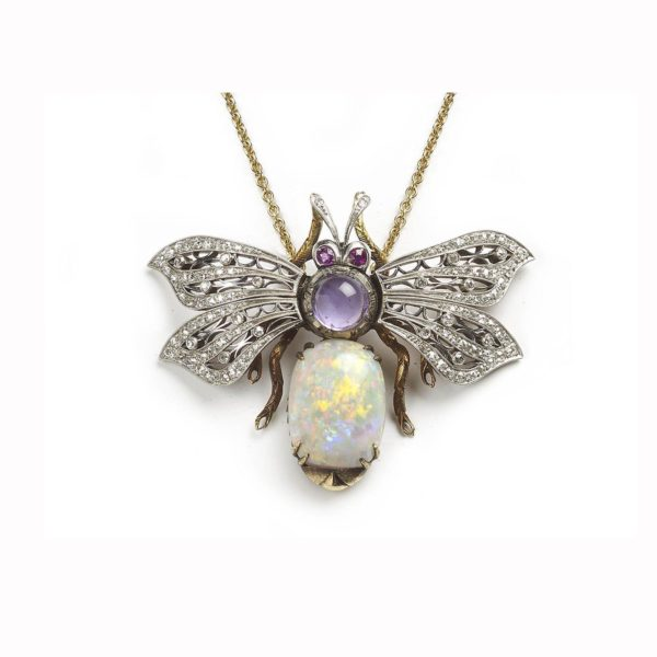 Opal and gem set bee pendant