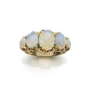 Victorian five stone opal 18ct yellow gold ring