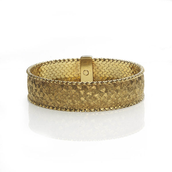 Vintage Woven 18ct Gold Bracelet with Hand Textured Finish
