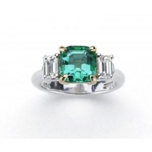 Rare fine colombian emerald diamond ring Jewellery Discovery London
