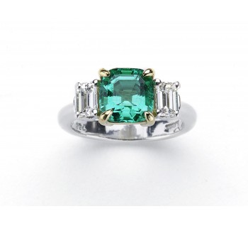 Rare fine colombian emerald diamond ring Jewellery Discovery London