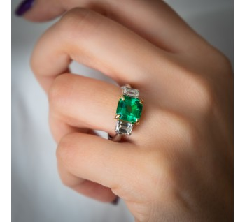 2-3 carat Colombian Emerald & Diamond Ring