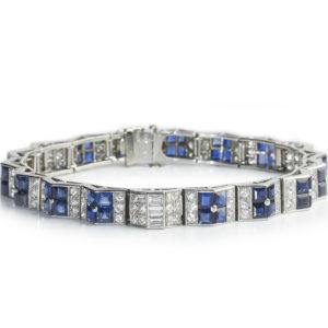 Art deco Cartier sapphire diamond bracelet line calibre platinum 1930