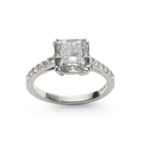 3.03 Carat GIA Cert Cushion Cut Diamond Platinum Ring