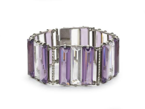 Rock Crystal Amethyst Silver Bracelet