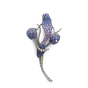 Shaded Sapphire Diamond Gold Flower Brooch