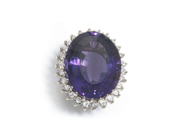 40.40 Carat Amethyst Diamond Gold Ring