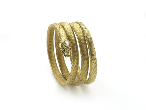 Antique victorian Gold Snake Bangle Bracelet