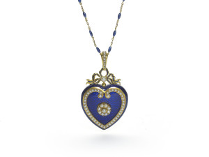 Victorian jewellery Blue Enamel Pearl Gold Heart Locket