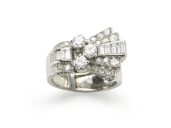 Platinum 1940's diamond ring cocktail