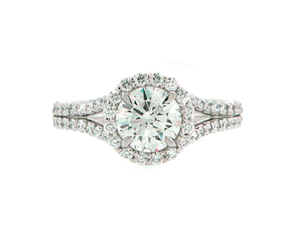 Diamond halo round engagement ring