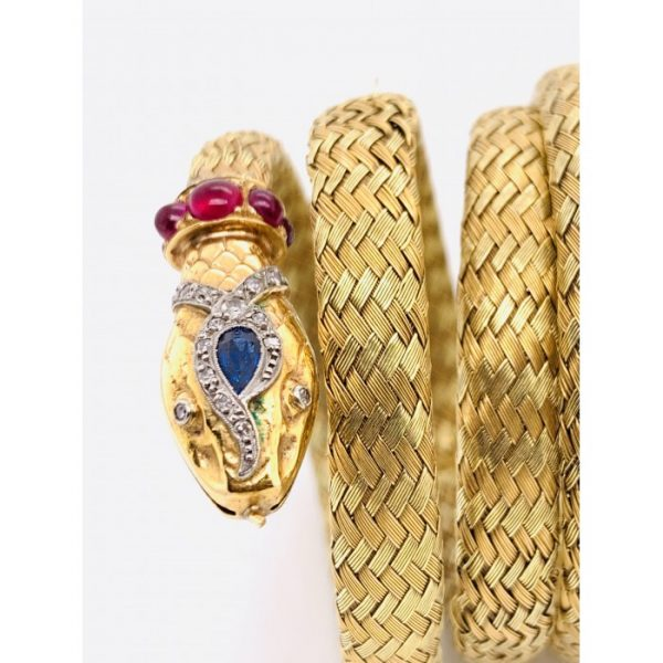 Antique Gold Coiled Snake Bangle Bracelet
