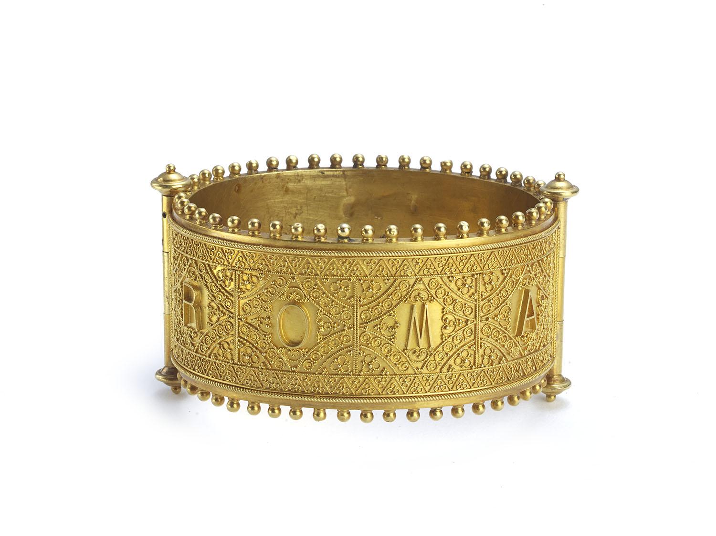 antique micro mosaic gold bangle bracelet