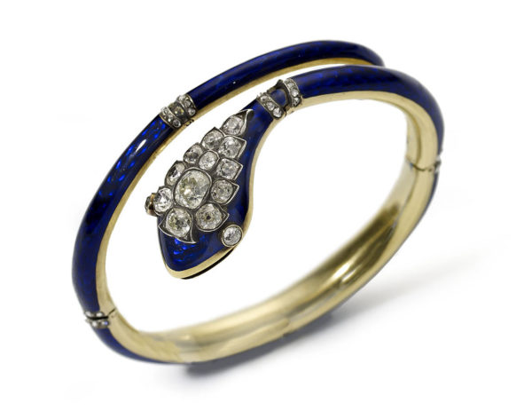 antique victorian Snake blue enamel diamond gold snake bracelet 1840 1860