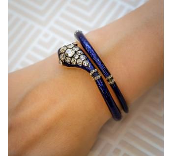Antique victorian-blue-enamel-snake-bangle
