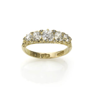 Victorian Carved Hoop Diamond Ring