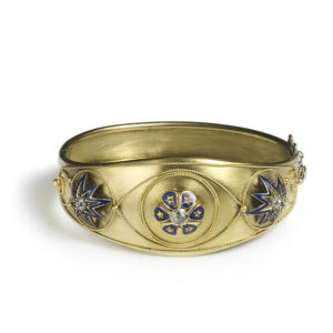 Victorian blue enamel gold bangle